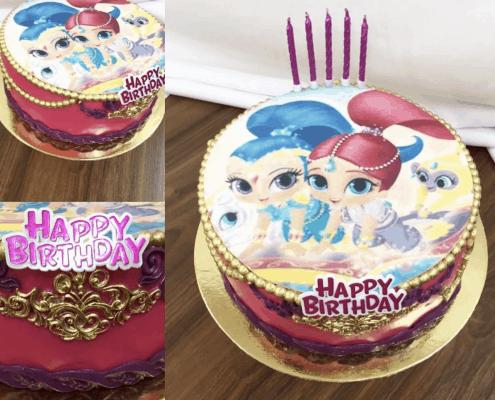 Zlato ružová torta shimmer and shine so sviečkami