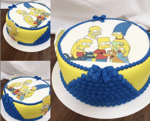 Detská torta s motívom rodiny simpsonovcov a korálkami