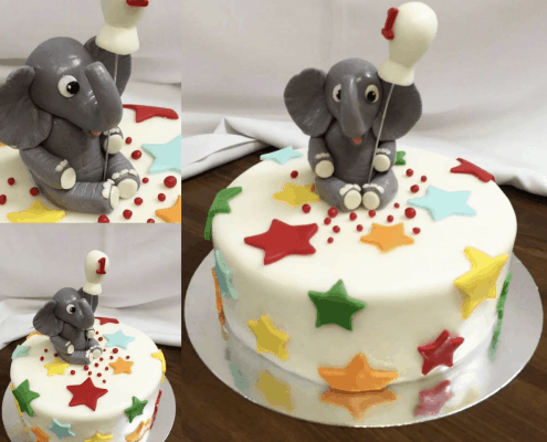 Detská torta so sloníkom a s balónom na prvý rôčik