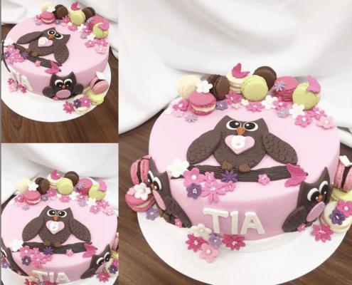 Detská torta pre dievča s veľkou sovou na konáriku