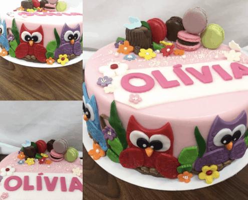 Jemná narodeninová torta s farebnými sovami a makarónkami
