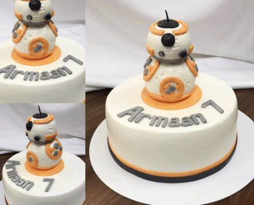 Chlapčenská torta s oranžovým robotom plnená vanilkovým krémom