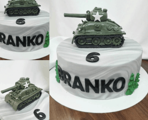 Chlapčenská torta s textúrou kameňa a tankom