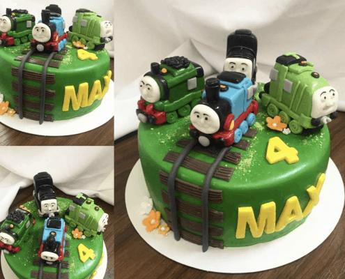 Zelená detská torta s vláčikmi Thomas