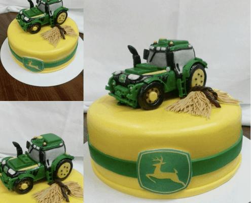 Detská žltá torta deer traktor so senom
