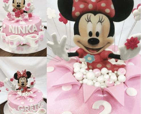 Detská torta s vyskakovacou Minnie a mašľou