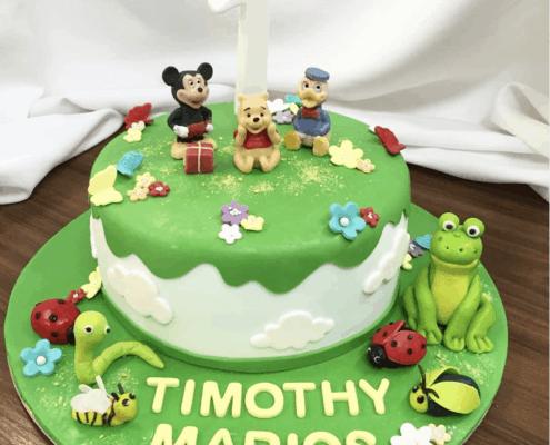 Detská torta s postavičkami disney a žabkou