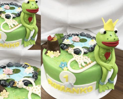 Detská torta s jemným krémom a žabím princom