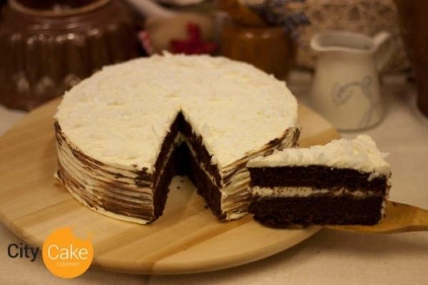 Rumovo kokosový koláč s čokoládou