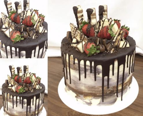 Narodeninová torta s belgickou čokoládou a jahodami
