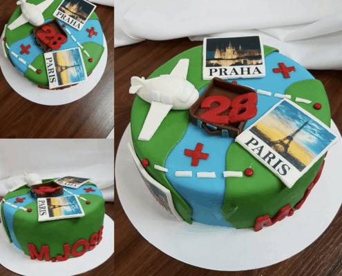NArodeninová torta s lietadlom v cestovateľskom štýle