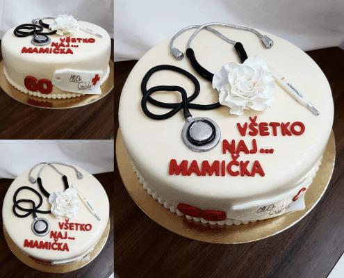 Narodeninová torta pre doktorku so stetoskopom