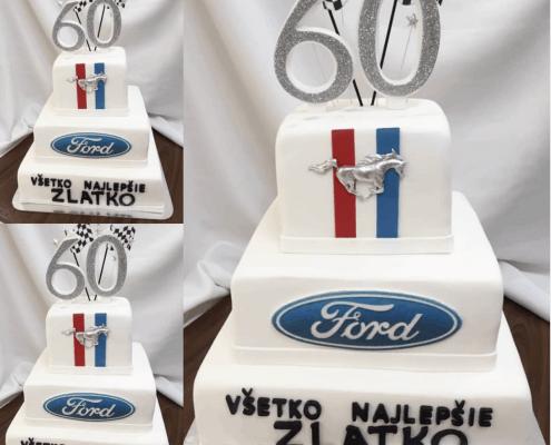 Narodeninová torta pre milovníka áut značky ford
