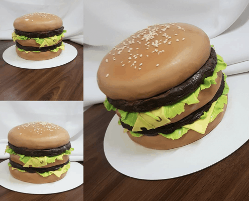 Narodeninová torta v štýle hamburgeru so syrom