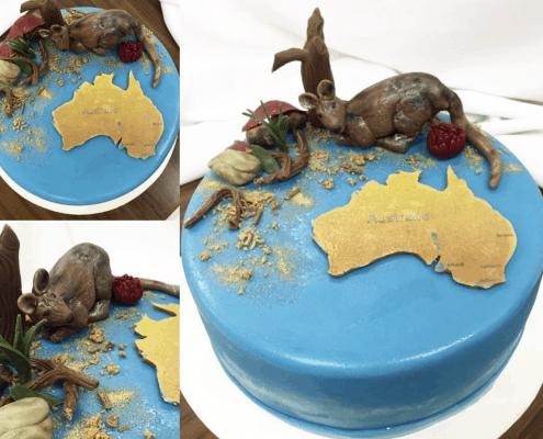 Narodeninová torta s kengurov s motívom austrálie