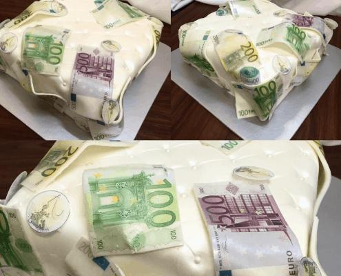 Narodeninová torta v téme bankovníctva a peňazí