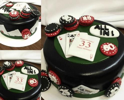 Narodeninová torta so žetónmi a pokerovými kartami