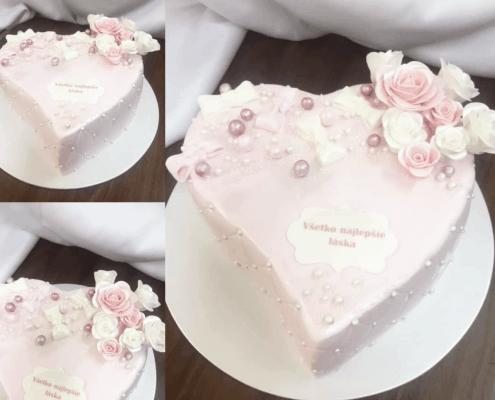 Narodeninová torta s jemnými perlami a bielo ružovými ružami