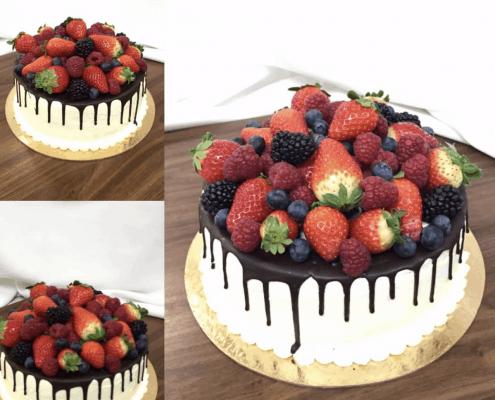 Bezlepková narodeninová torta s čerstvým ovocím