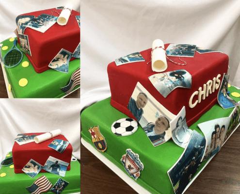 Narodeninová torta s jedlými fotkami a odznakmi