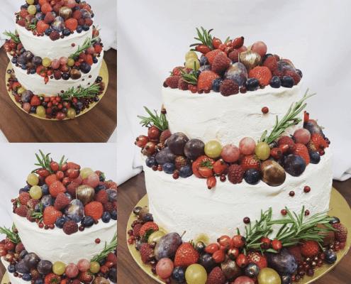 Narodeninová torta s jesenným ovocím a gaštanami