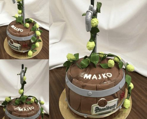 Narodeninová torta v tvare sudu od čapovaného piva