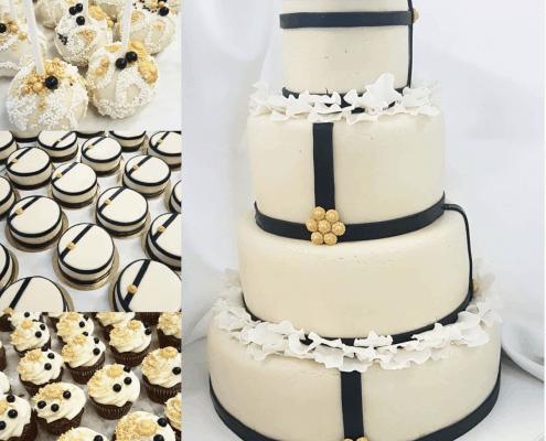 Svadobná torta z pravého marcipánu a čierno zlatými doplnkami