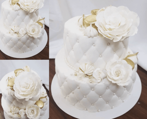Luxusná svadobná torta so zlatými doplnkami
