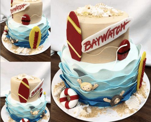 Narodeninová torta s morom a nápisom baywatch