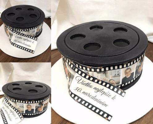 Narodeninová torta s témou filmového kotúča
