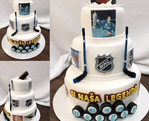 Narodeninová torta s hokejovou tématikou