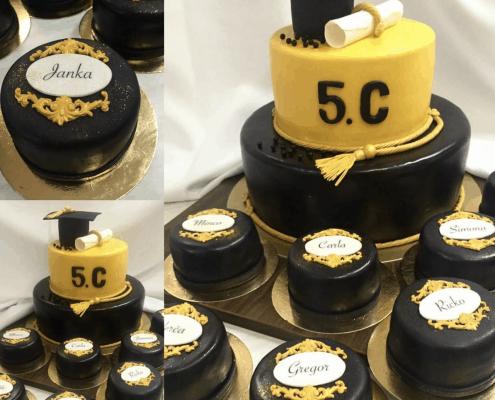 Torta na promócie s malými tortičkami