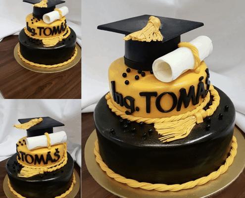 Torta na promócie so zlatými doplnkami