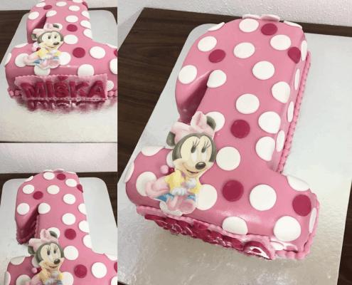 Detská torta v tvare čísla 1 minnie