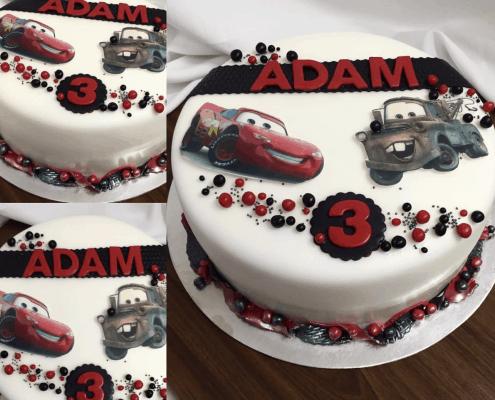 Detská torta autá bielo červená