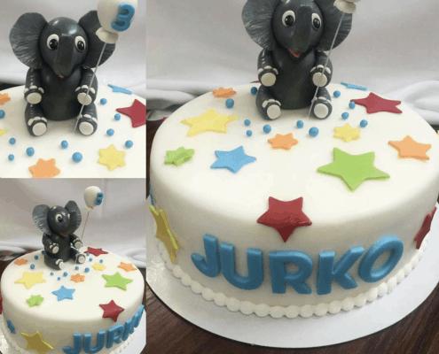 Detská torta s malým sloníkom s farebnými hviezdičkami