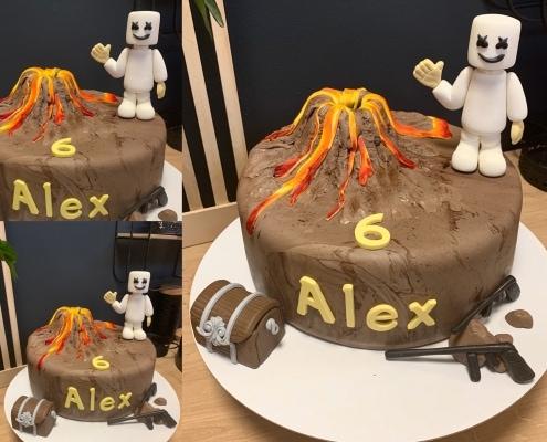 Chlapčenská torta s aktívnou sopkou a postavičkou
