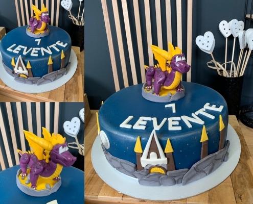 Nočná modrá torta s drakom spyro a hradom