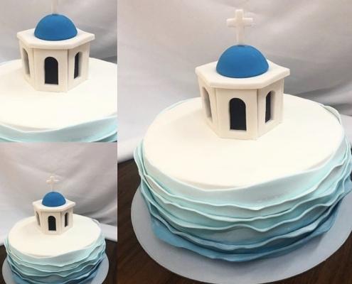 Spomienková torta s kaplnkou v santorini a morskými vlnami