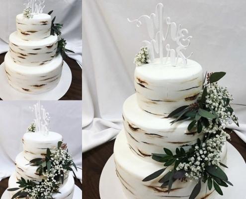 Greenery svadobná torta s dekorom brezovej kôry